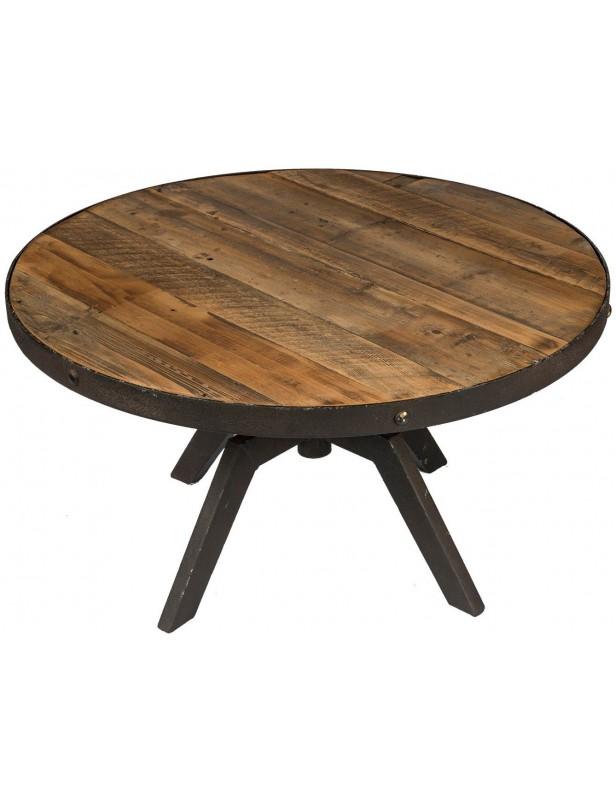 table basse ronde plateau moyen reglable bois recycle industrielle structure metal