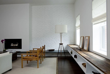 Couleur Peinture Salon Mur De Briques Blanc Sol Parquet Wenge