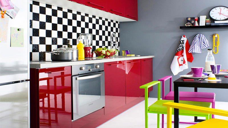 cuisine fly blanche taupe et rouge a