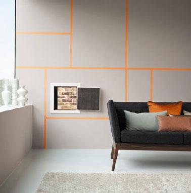 Mur Salon Peinture Gris Et Jeu Graphique Peinture Orange
