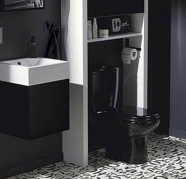 ces wc en noir et blanc jouent fond la carte du contraste le sol with dco wc noir et blanc