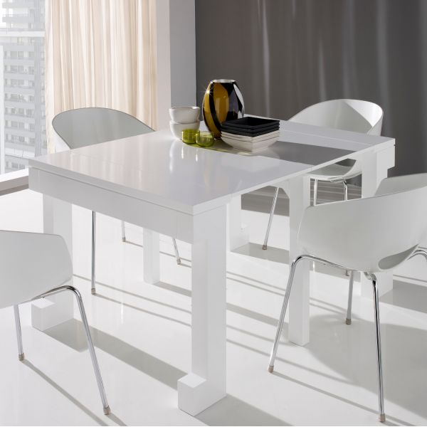 Table Console Extensible Laque Blanc Mobilier