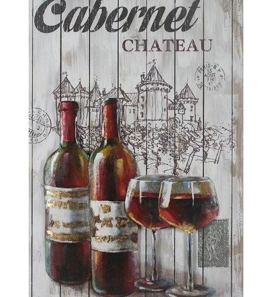 tableau metal univers du vin rouge relief