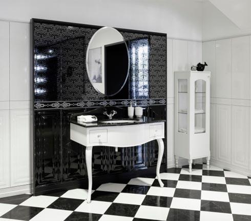 la salle de bain en noir et blanc