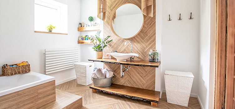 bois et salle de bains comment l