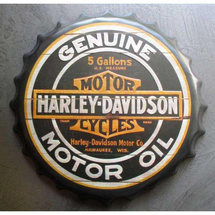 plaque capsule moto americaine motor oil 40cm tole deco us