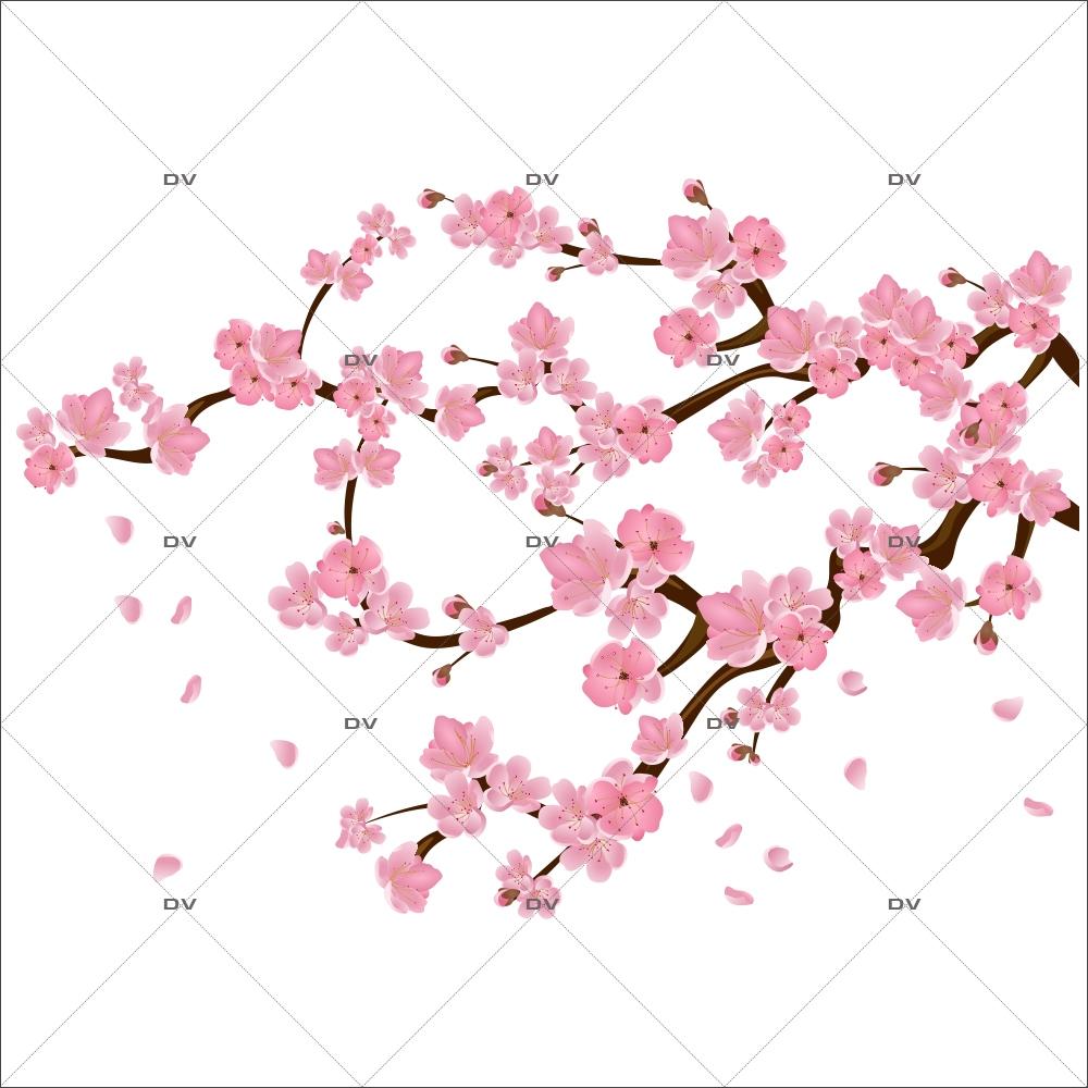 Sak1 Sticker Branche De Cerisier En Fleurs Deco Vitres