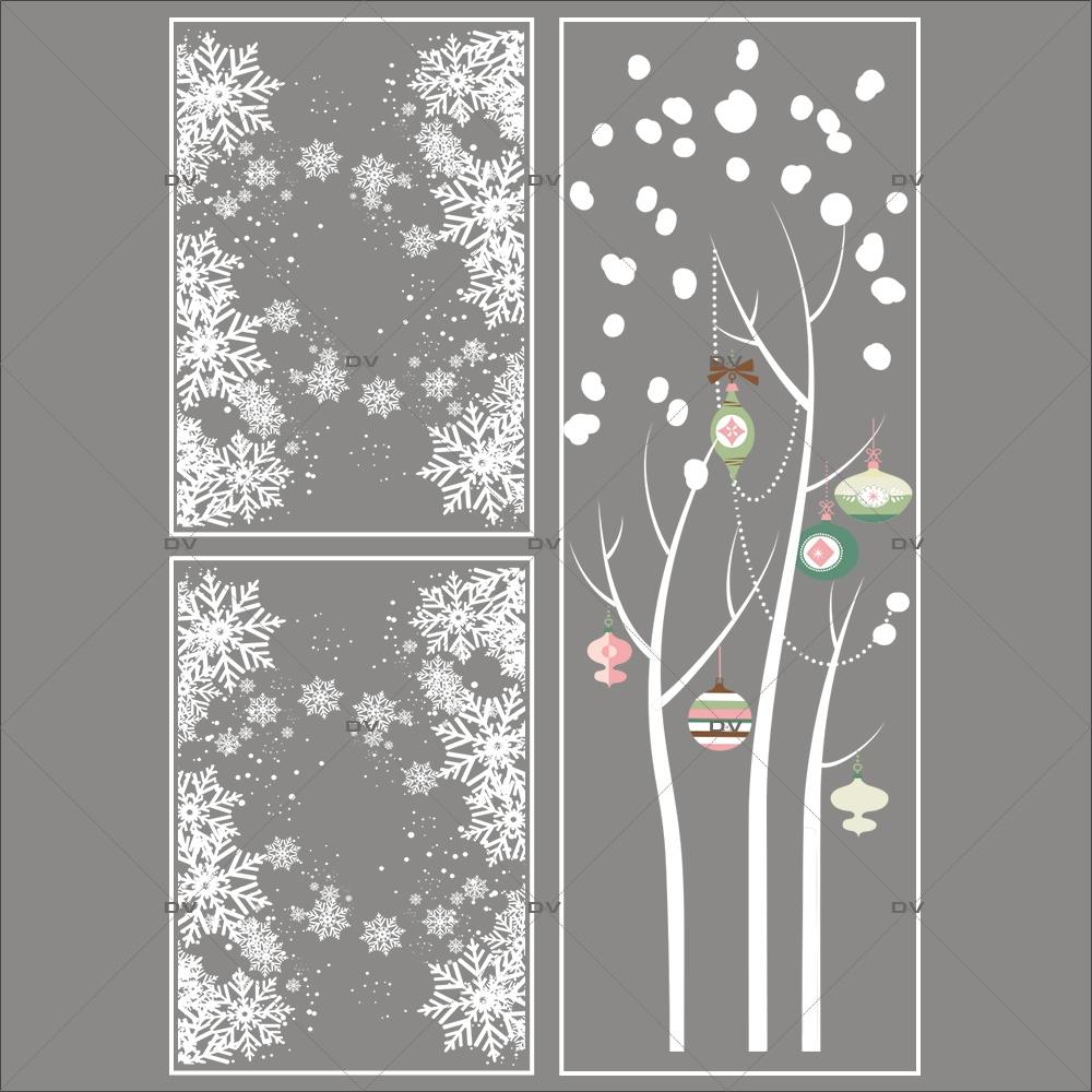 lot promotionnel 3 stickers noel romantique deco vitres electrostatique
