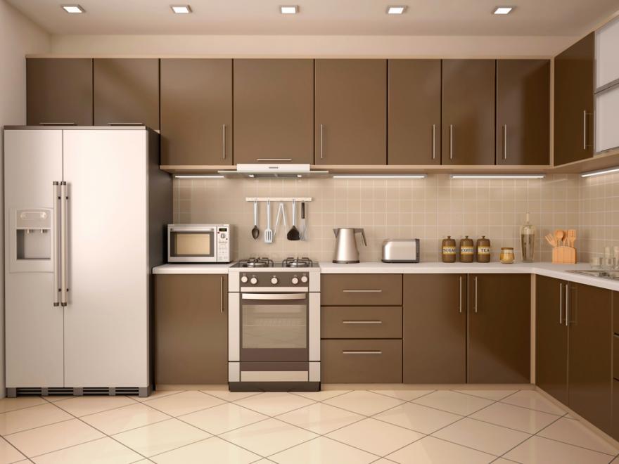 une cuisine de couleur taupe entre