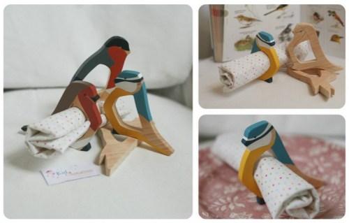 Ronds de serviette oiseaux Kid-et-capucine