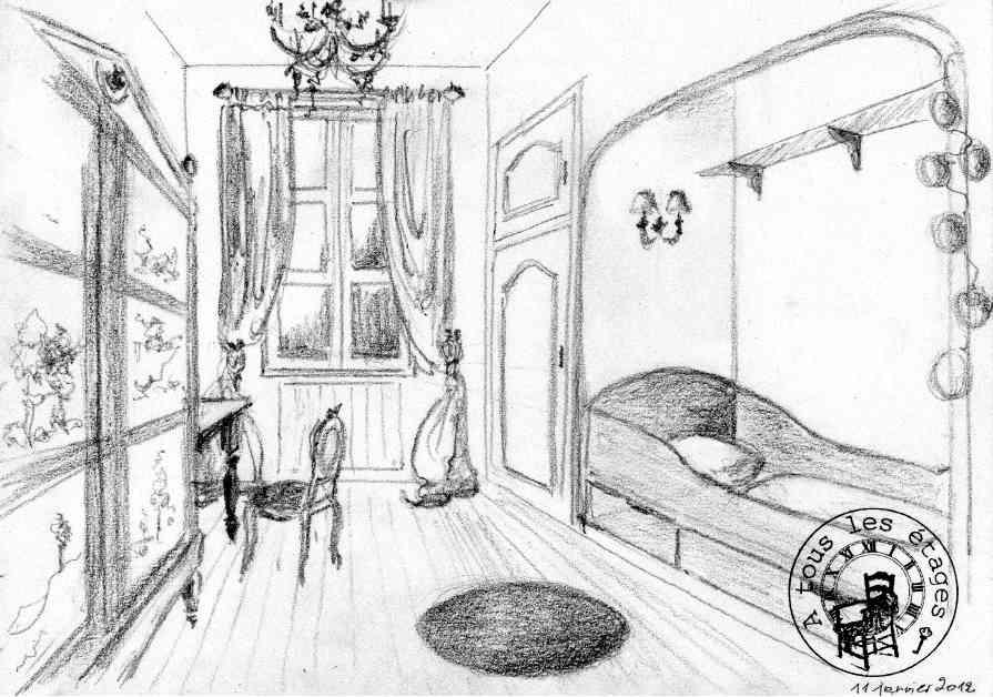 Schéma d'agencement de la chambre de jeune fille