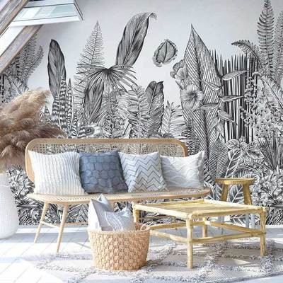 papier-peint-fresque-noir-et-blanc_Botanic_Papermint