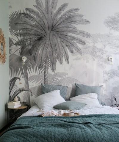 150 /× 105cm Papier Peint Papier peint personnalis/é noir et blanc humeur vintage for/êt brouillard alpin salon canap/é fond de papier peint papier peint 3D