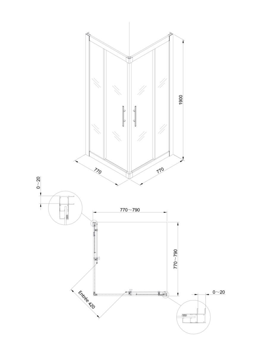 d angle porte coulissante 80 x 80 cm