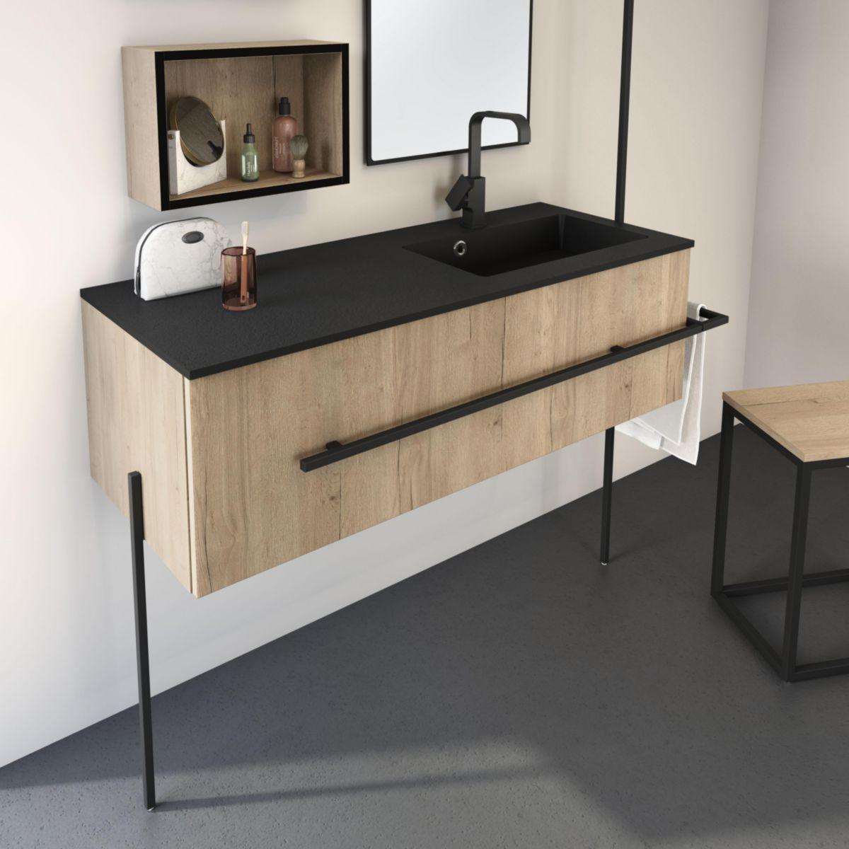 pieds pour meuble sous vasque noir mat