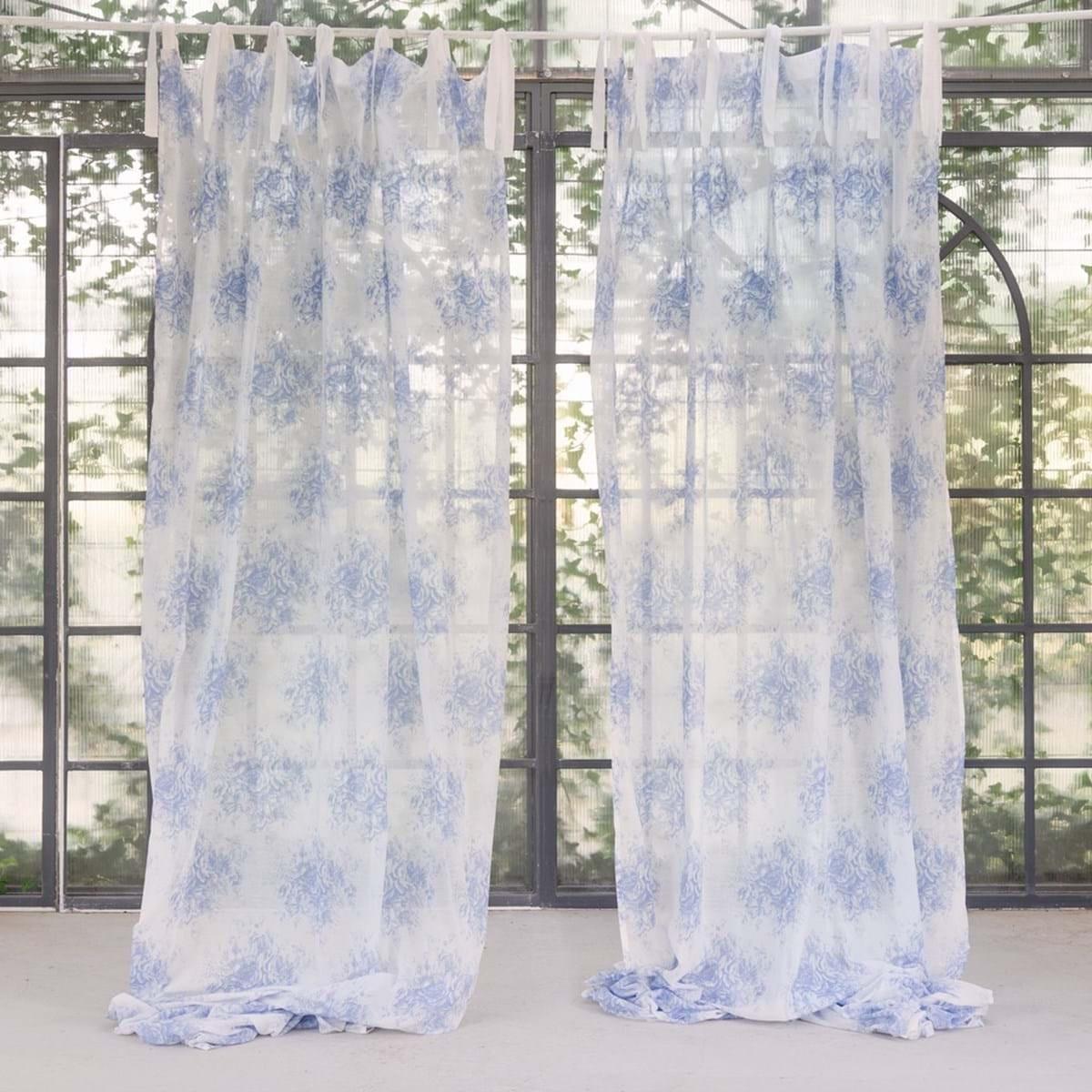 rideau tournee bleu 150 x 300 cm a nouettes par blanc mariclo