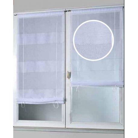 paire de vitrage wanda 45 x 145 cm blanc argent