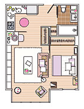Focus | Aménager un studio grâce au color-zoning - www.decocrush.fr