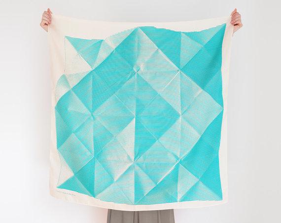Furoshiki turquoise triangles