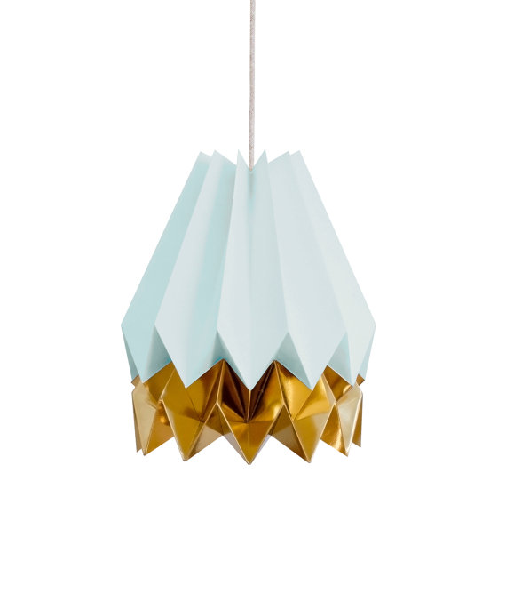 Suspension origami turquoise et or