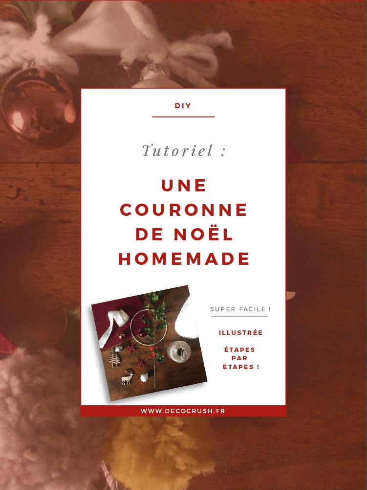 Mini Couronne de Noël DIY par Eline &  Laines sur www.decocrush.fr