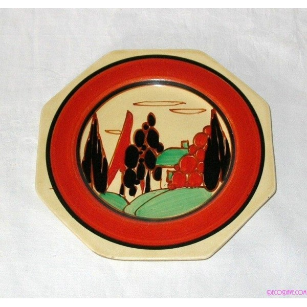 Clarice Cliff Plate In The Tree And House Pattern Deco Dave