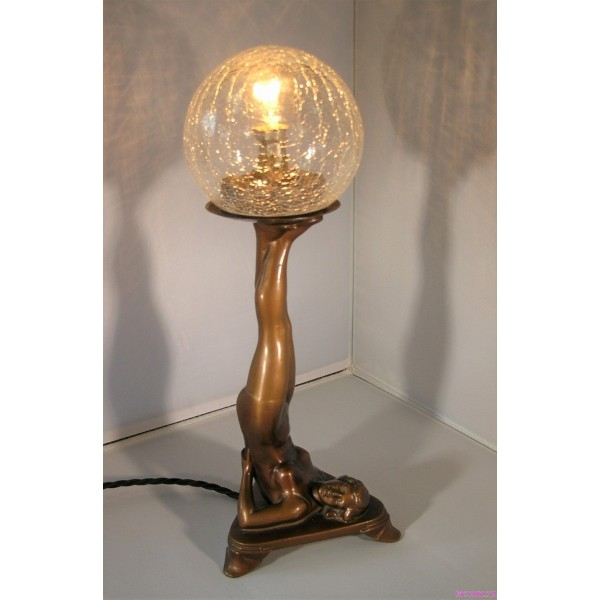 Small Art Deco Lady Lamp With Crackle Glass Globe Deco Dave