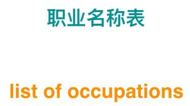 List of occupations 职业名称列表