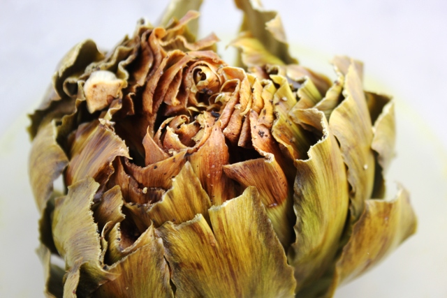 A very, very dried out artichoke. A pretty picture maybe, but bad eats.
