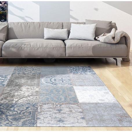 tapis vintage bruges bleu