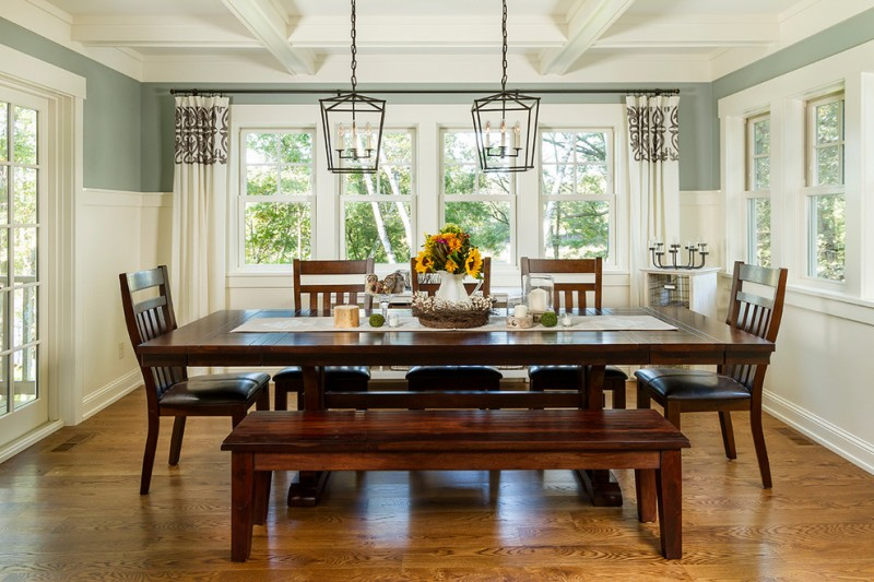 Bench Dining Room Table Combinations in a Dining Area   Decohoms bench dining room table wood floor chairs chandeliers flowers windows  traditional style table cloth curtains