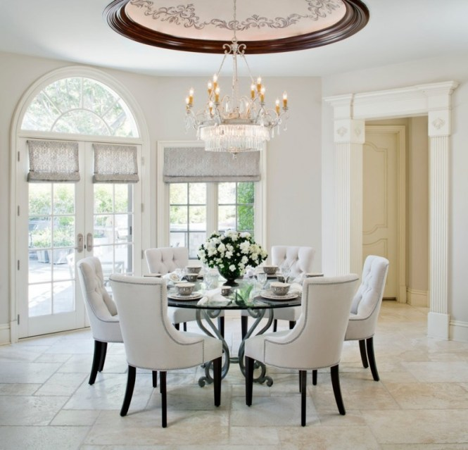 French Provincial Dining Room Furniture Traditional Ivory Linen Chair Round Glass Table Marble