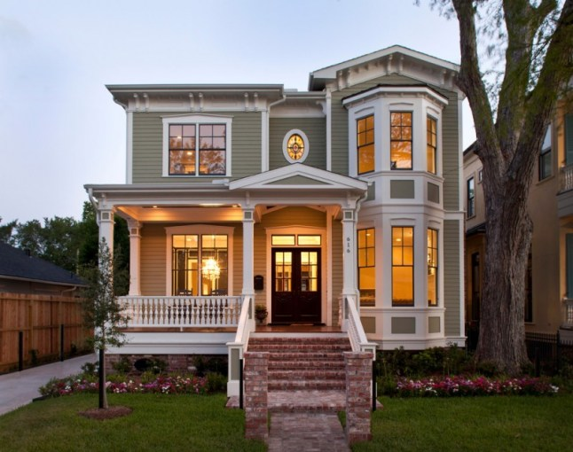 Elegant Houses to Get Ideas for Small Victorian House Plans From     small victorian house plans brick stairs railings garden white trim black  framed windows double doors grey