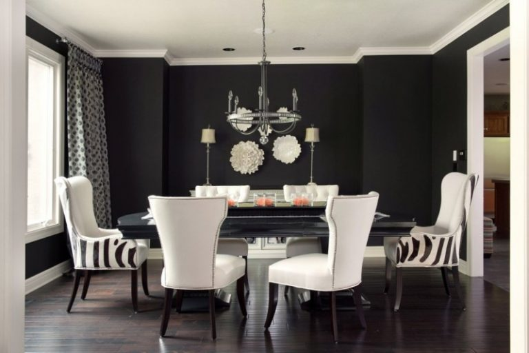 Wondrous Dining Room Decorating Ideas for Your Modern Dining Room     dining room decorating ideas global views wall plates designmaster chairs  black wall hardwood flooring black dining