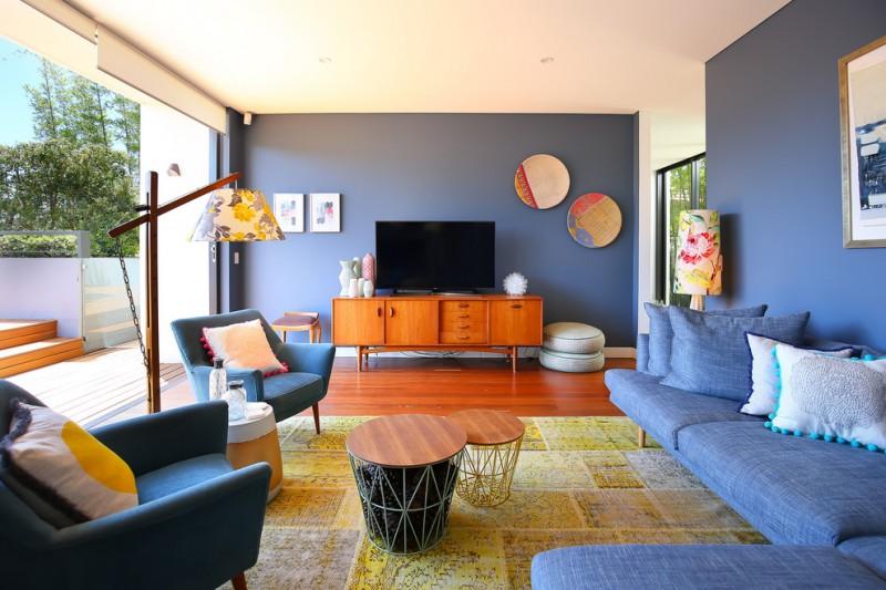 Navy Blue Sofa Set