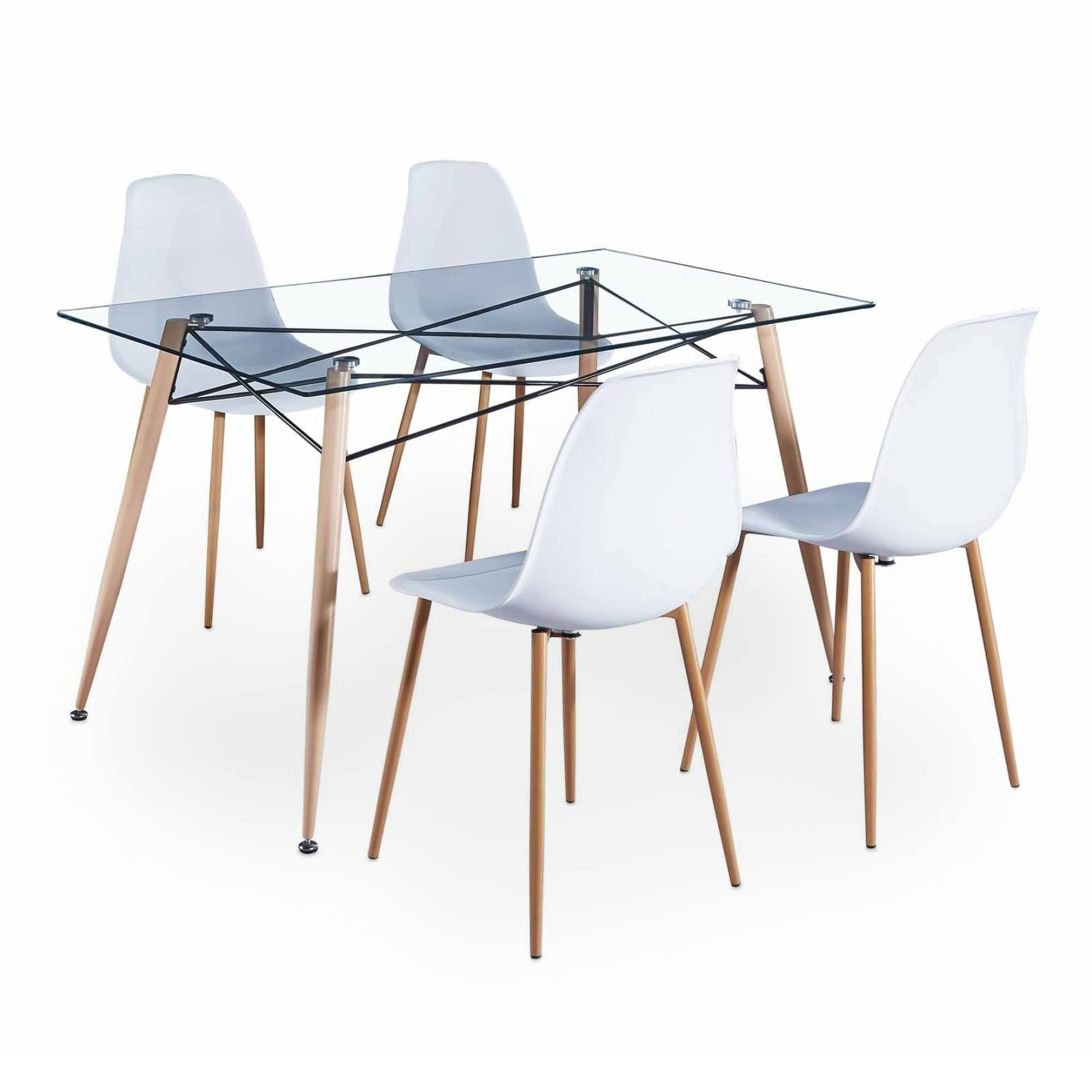 table a manger en verre 4 chaises scandinaves livia