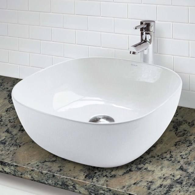 DECOLAV 1488 CWH Square Counter Vitreous China Bathroom Sink
