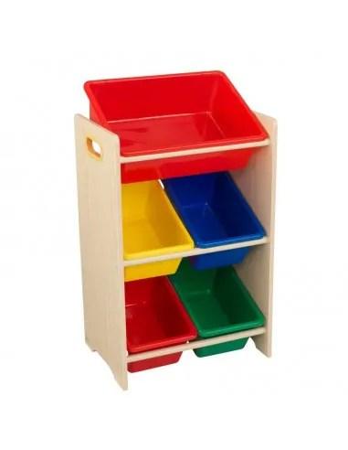 meuble avec 5 bacs de rangement colores