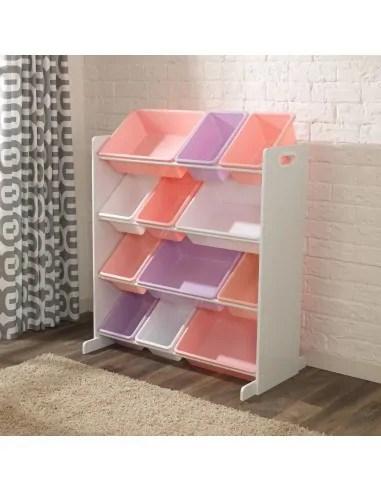 meuble avec bacs de rangement pastels
