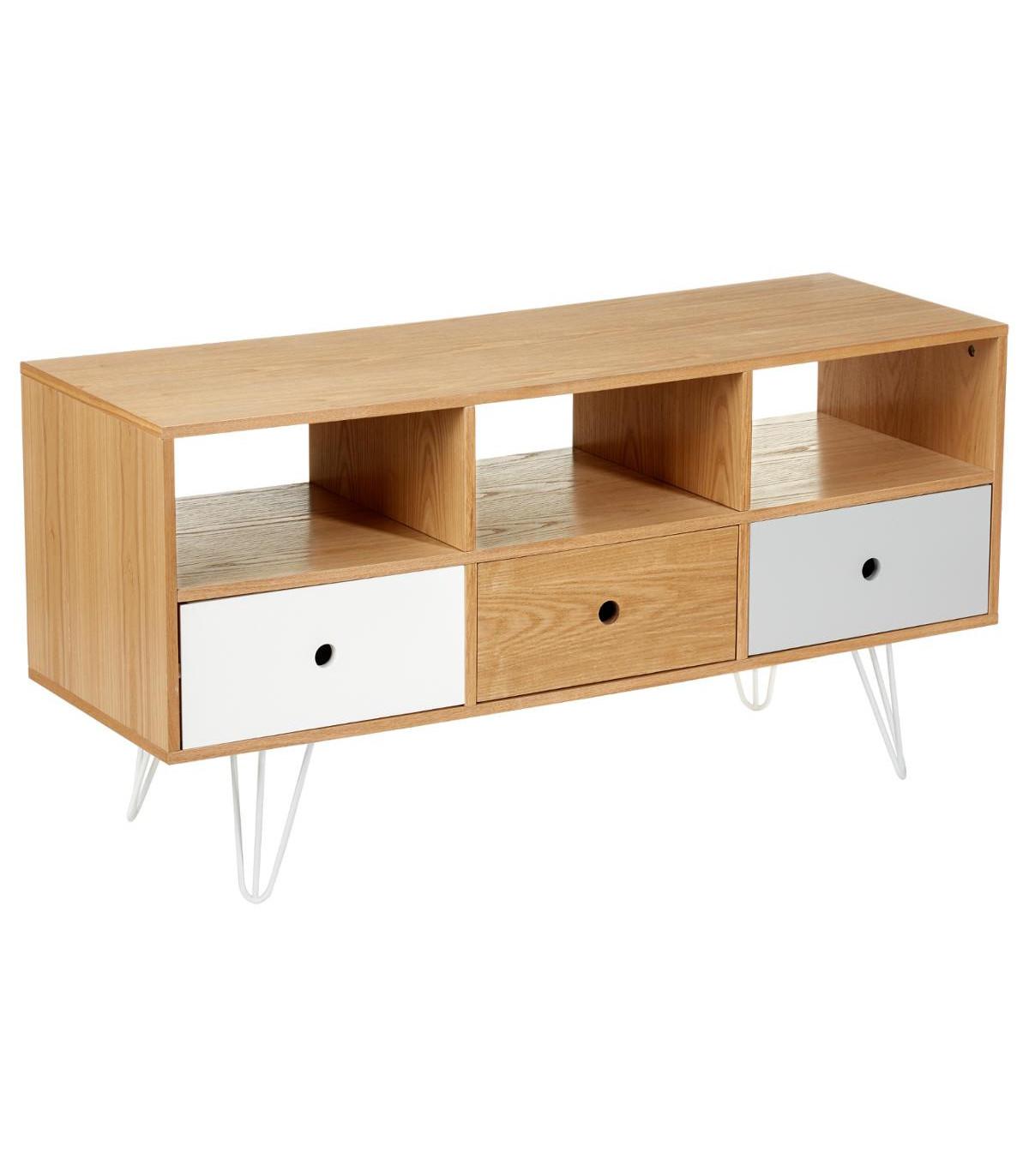 meuble bas de tv 3 tiroirs shulg