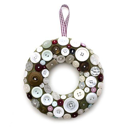 coronas de Navidad originales con botones 2