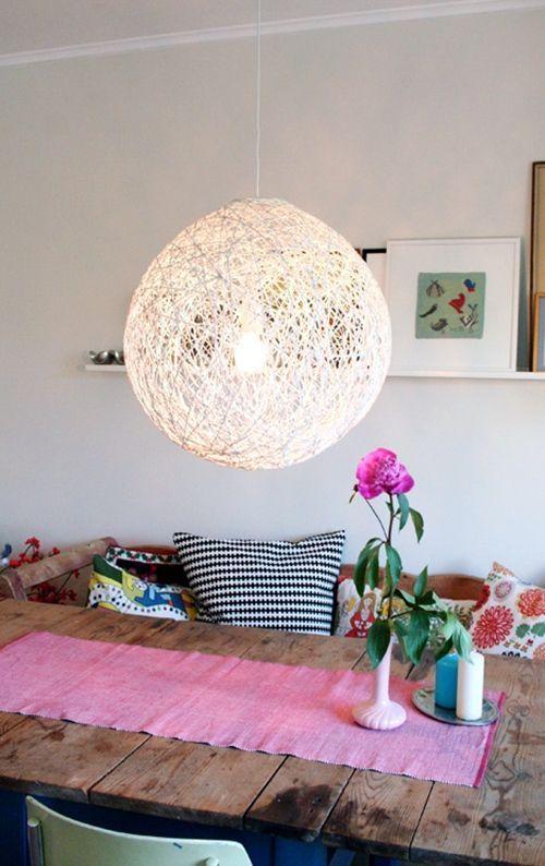 como hacer una lampara con cuerda para decorar moderno 5