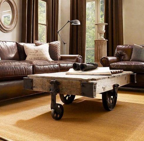 mesas vintage con ruedas de carro 11
