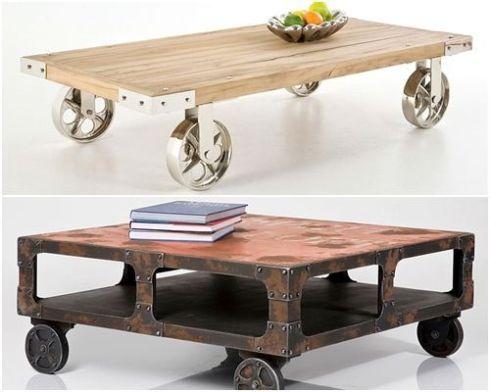 mesas vintage con ruedas de carro 5