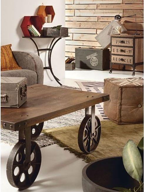 Mesas vintage con ruedas de carro decomanitas for Mesa escritorio con ruedas