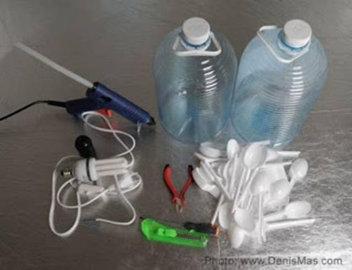 Cómo hacer lámparas con objetos desechables8