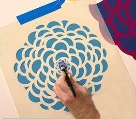 paredes con flores con stencil o estarcido 3