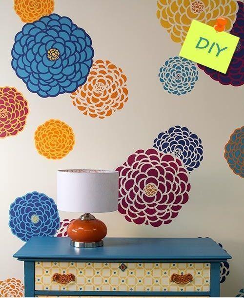 Plantillas para pintar paredes con flores decomanitas - Tecnicas para pintar una habitacion ...