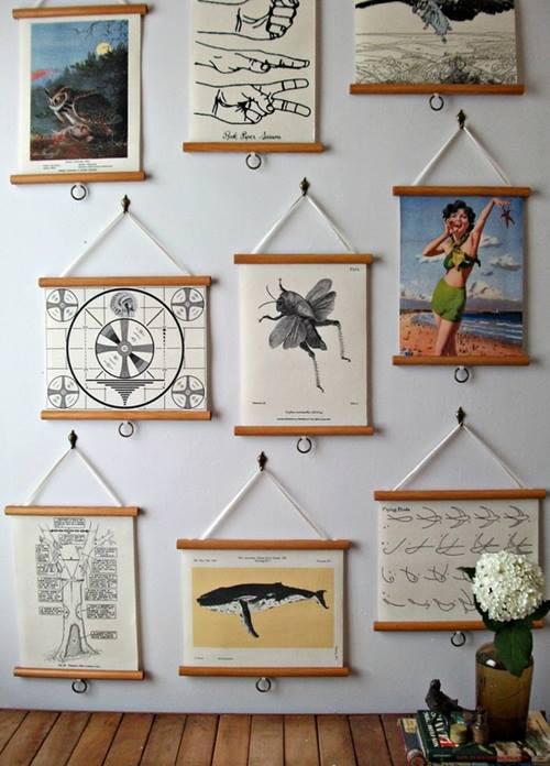 Colocar cuadros para decorar paredes de forma original - Soporte cuadros ikea ...