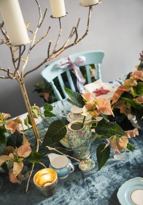 Arreglos de Navidad con flor de pascua de estilo vintage 1